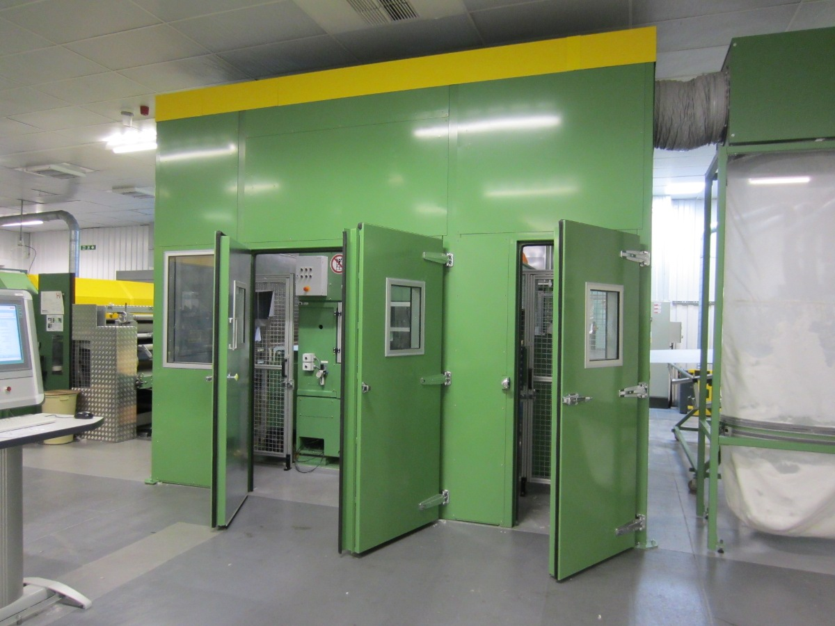 Acoustic doors on enclosure in open position