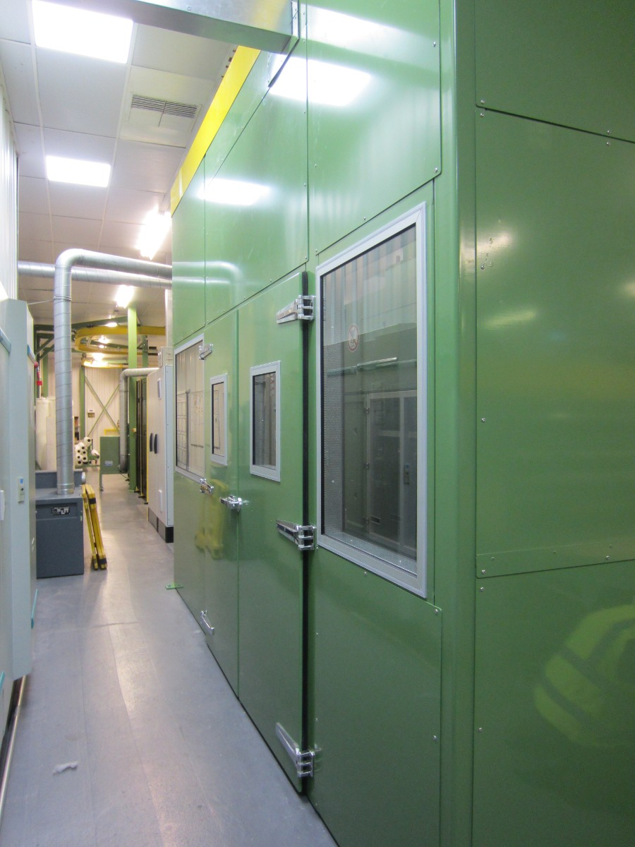 Double acoustic doors and viewing windows